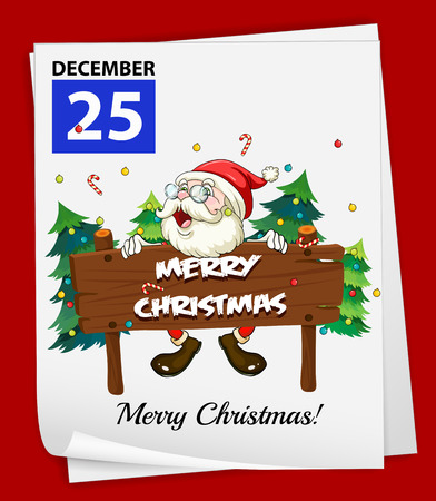 december 25: Illustration of December 25 is Christmas