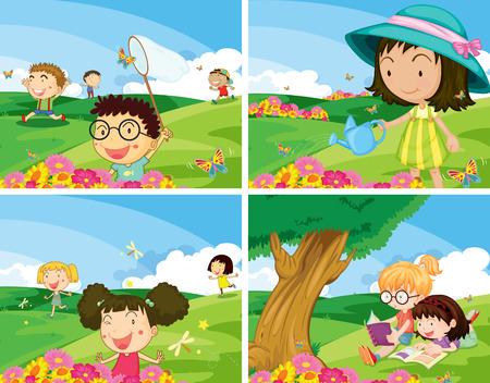 Illustration of four scene of children being outdoor Illustration