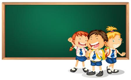 three children: Illustration of three children in uniform and a blackboard