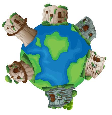 residental: Illustration of many stone houses on the world Illustration