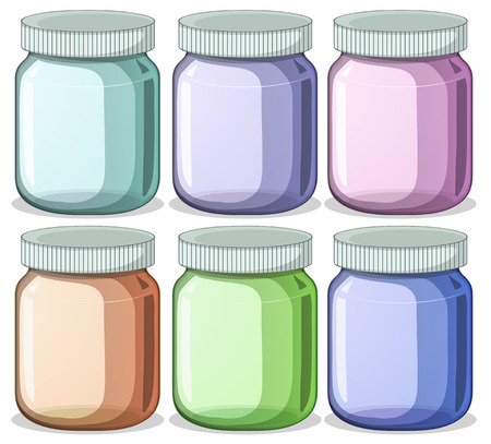 six objects: Illustration of six different color jars