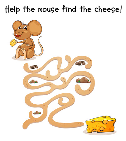 cheese cartoon: Illustration of a maze game with a rat and cheese Illustration