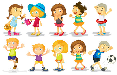 Illustration of many children doing activities Vector