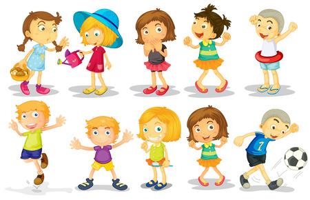 Illustration of many children doing activities Vector