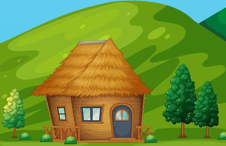 Illustratie van een enkele cabine op het platteland Stock Illustratie