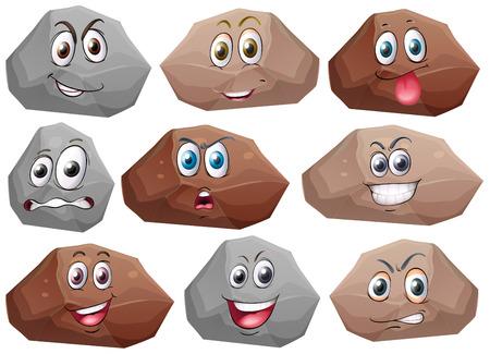 expresiones faciales: Ilustraci�n de rocas con las expresiones faciales