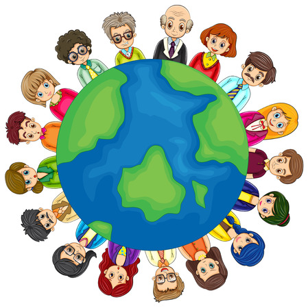 many people: Illustration of many people around the world