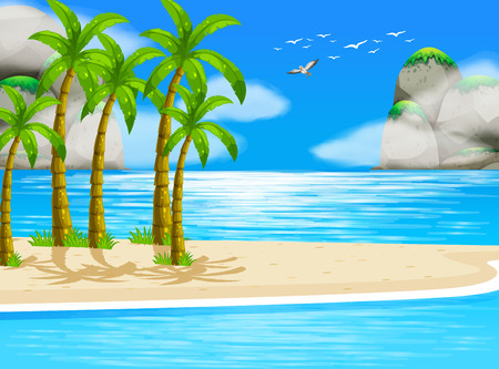ocean view: Illustration of an ocean view with island