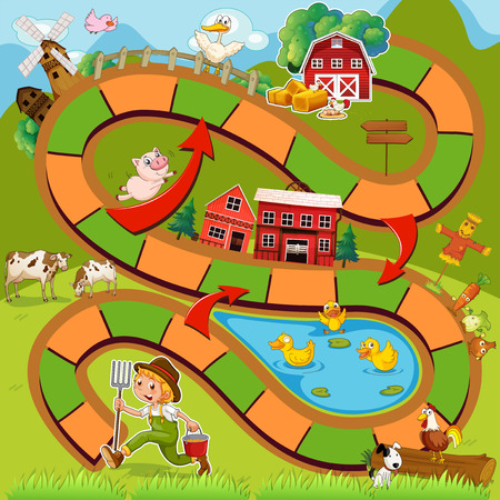 land mammals: Illustration of boardgame with farm background