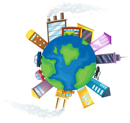 polluting: Illustration of pollution around the earth