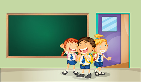 studying classroom: Illustration of three students in the classroom