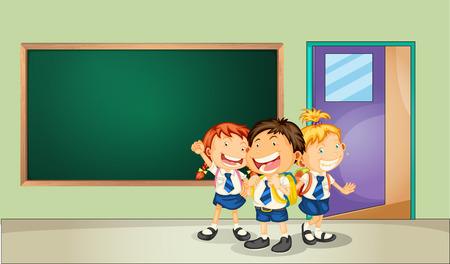 salon de clases: Ilustraci�n de tres estudiantes en el aula