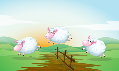 Illustration of three sheeps jumping over a fence