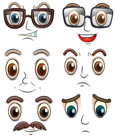 gezichts uitdrukkingen: Illustratie van gezichtsuitdrukkingen Stock Illustratie
