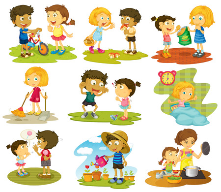 family playing: Illustration of many children doing chores and activities