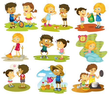 děti: Ilustrace z mnoha dětí, dělá domácí práce a činnosti
