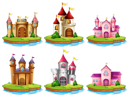 tower house: Illustration of many castles on the islands Illustration