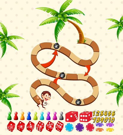 coconut trees: Illustration of a boardgame with monkey and coconut trees