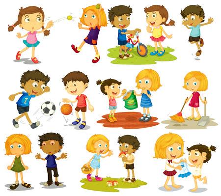 種類のスポーツや活動をやっている子供たちのイラスト