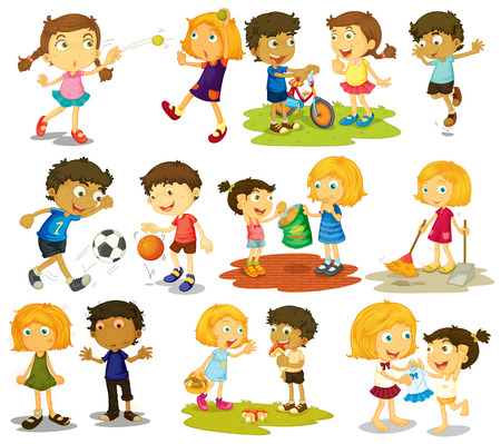 Illustration of children doing different sports and activities Çizim