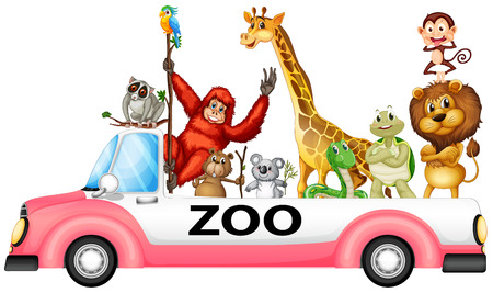Illustration of many animals on a pick up truck Vector