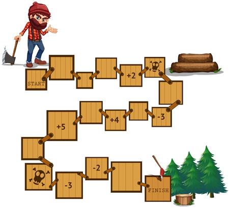 maderas: Ilustraci�n de juego de mesa con una madera y el bosque Vectores