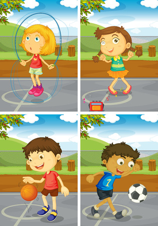 girl kick: Illustration of four children doing different sports Illustration