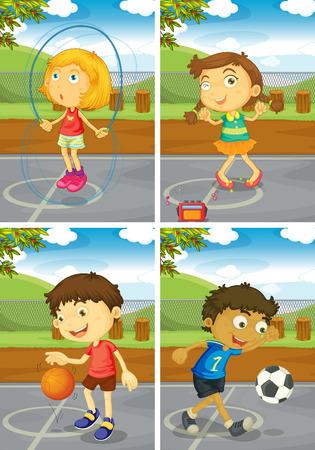 baloncesto chica: Ilustraci�n de cuatro ni�os haciendo diferentes deportes Vectores