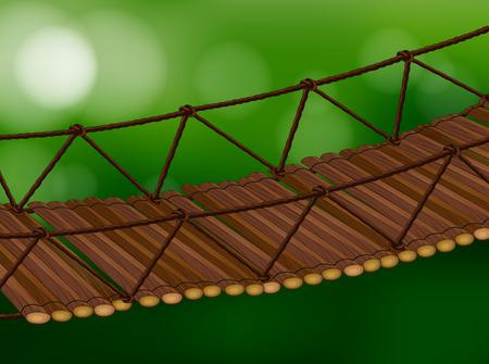 rope bridge: Illustration of a wooden bridge crossing Illustration