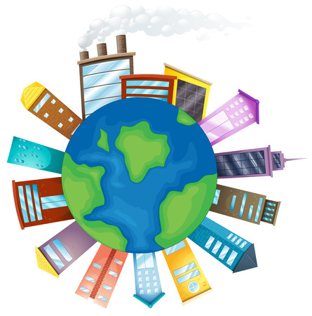 Illustration of many buildings around the Earth Vector