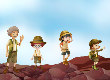 exploring: Illustration of many children in scout uniform