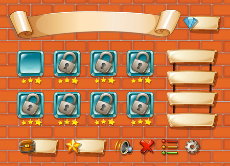 chest wall: Illustration of computer game with bricks background Illustration