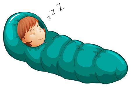 Illustratie van een meisje in een slaapzak