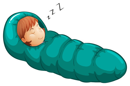 Illustration of a girl in a sleeping bag