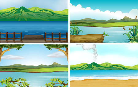 mountain scene: Illustration of four different scene of lakes