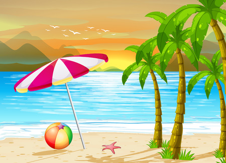 beach illustration: Illustration of an umbrella on the beach