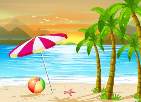 pelota caricatura: Ilustraci�n de una sombrilla en la playa Vectores