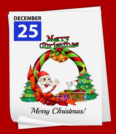 25 december: Illustration of December 25 is Christmas