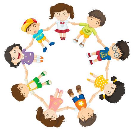 girotondo bambini: Illustrazione di molti bambini si tengono per mano in un cerchio
