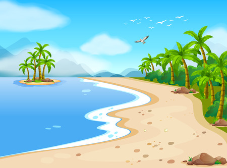 scenes: Illustration of a beautiful beach during the summer