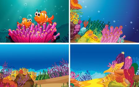 Illustration of four scenes of underwater Illustration