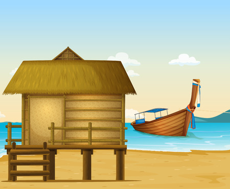 fisherman boat: Illustration of a beach in Thailand