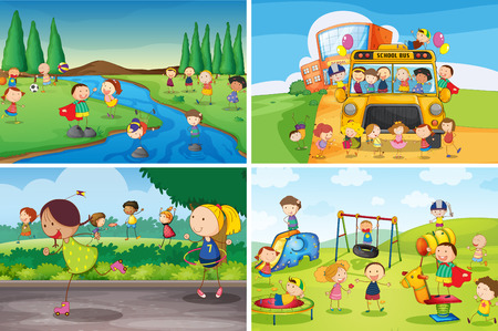 bambini che giocano: Illustrazione di molti bambini che giocano nel parco Vettoriali