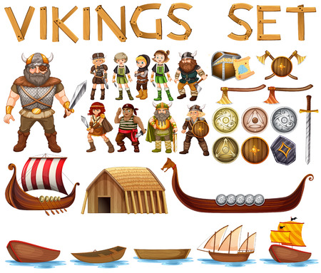 pirate cartoon: Illustration of a set of vikings
