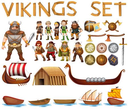 pirata mujer: Ilustración de un conjunto de vikingos