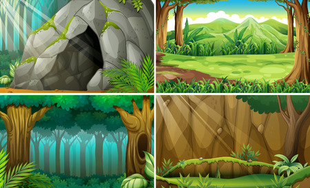 scene: Illustration of four scenes of forests and a cave