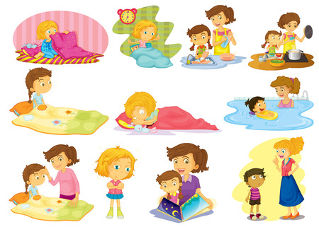cartoon bed: Illustration of children doing many activities Illustration