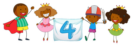 school clipart: Illustration of a flashcard number four with children Illustration
