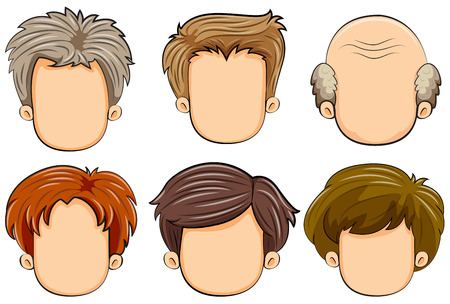 brown hair: Illustration of different faces of men