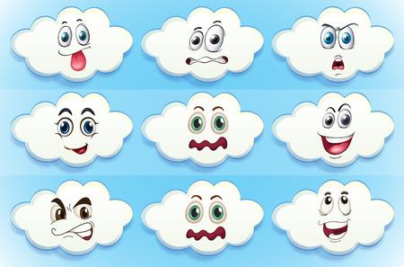 gezichts uitdrukkingen: Illustratie van wolken met gezichtsuitdrukkingen